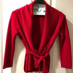 BCBG Small red shawl collar cardigan